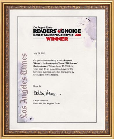 2011 LA Times Reader's Choice Winner