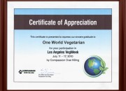 Certificate of Appreciation by Compassion over Killing
