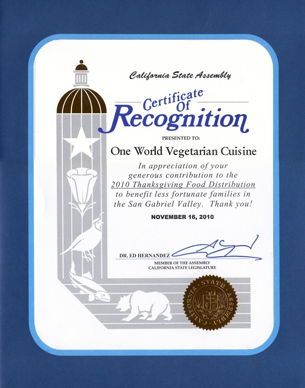 california legislature certificate of recognition