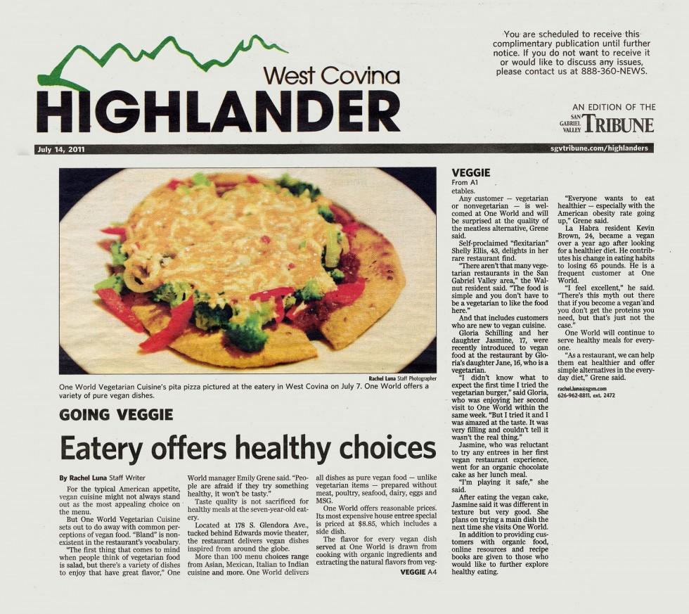 West Covina Highlander Newspaper › One Veg World ‹ Be Vegan, Make Peace!