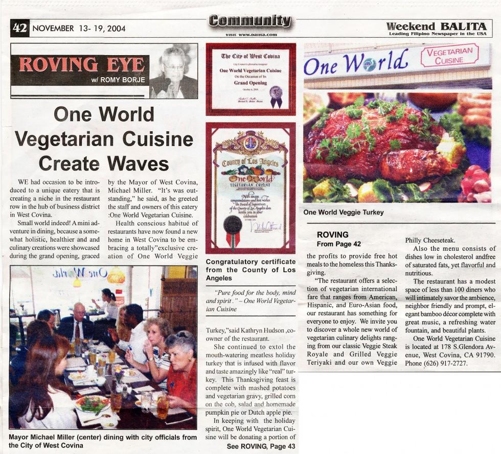 Balita Newspaper › One Veg World ‹ Be Vegan, Make Peace!